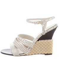 eaee8d51ea7966 Lyst - Chanel Embellished Quilted Sandals Nude in Metallic