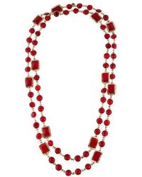 Chanel - Crystal Sautoir Necklace Gold - Lyst