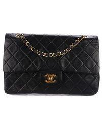 43c62a60b1dd Lyst - Chanel Soft Classic Medium Double Flap Bag Purple in Metallic