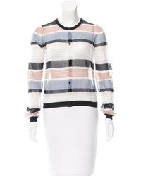 SUNO - Striped Sheer Cardigan W/ Tags White - Lyst