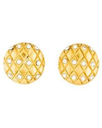 Chanel - Crystal Quilted Vintage Clip-on Earrings Gold - Lyst