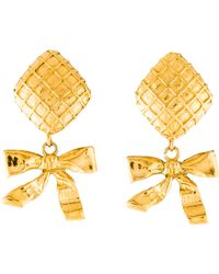Chanel - Quilted Bow Drop Earrings Gold - Lyst
