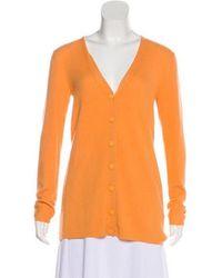 Chris Benz - Rib Knit Cashmere Cardigan Orange - Lyst