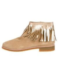 Kate Spade - Betsie Too Fringed Ankle Boots Tan - Lyst