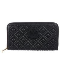 Tory Burch - Marion Quilted Zip Continental Wallet Navy - Lyst