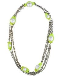 Erickson Beamon - Pearl Station Necklace Silver - Lyst