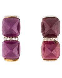 Kara Ross - Ruby & White Sapphire Drop Earrings Silver - Lyst