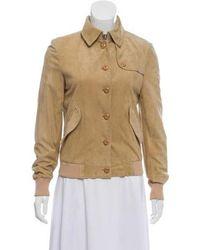 Ferragamo - Suede Button-up Jacket Beige - Lyst