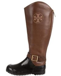 711f02c3d2d Lyst - Tory Burch Embossed Knee-high Boots in Brown