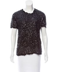 Gryphon - Sequined Short Sleeve Top - Lyst