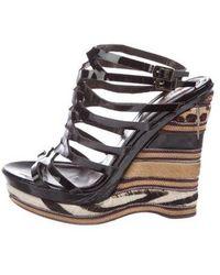 Roberto Cavalli - Patent Leather Wedge Sandals - Lyst