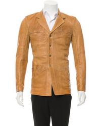 Roberto Cavalli - Leather Button-up Jacket W/ Tags Brown - Lyst
