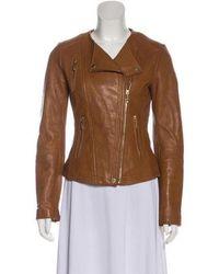 MICHAEL Michael Kors - Michael Kors Leather Biker Jacket Brown - Lyst