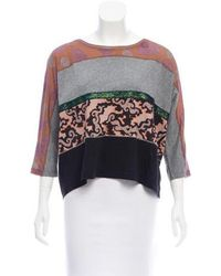 Dries Van Noten - Paneled Three-quarter Sleeve Top Grey - Lyst
