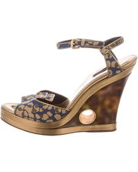 Louis Vuitton - Platform Peep-toe Wedges Khaki - Lyst