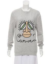Carven - Embroidered Scoop Neckline Sweatshirt Grey - Lyst