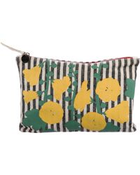 Clare V. - Printed Canvas Zip Pouch Black - Lyst