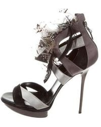 Diego Dolcini - Leather Feather Sandals Black - Lyst