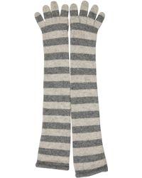 Moschino - Striped Wool Gloves Grey - Lyst