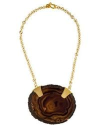 Kenneth Jay Lane - Oval Slice Agate Necklace Gold - Lyst