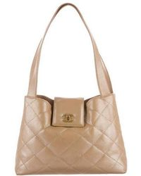 Chanel - Iridescent Quilted Caviar Tote Beige - Lyst