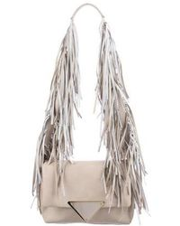 Sara Battaglia - Fringe-trimmed Teresa Shoulder Bag Beige - Lyst