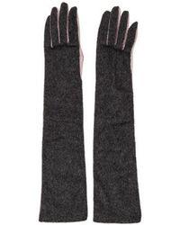 Nina Ricci - Leather-trimmed Felt Gloves Grey - Lyst