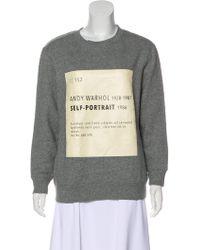Self-Portrait - Graphic Print Crew Neck Sweatshirt Grey - Lyst