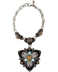 Lanvin - Tiger's Eye Floral Collar Necklace Silver - Lyst