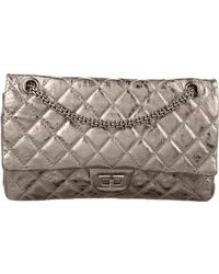 23efe2979244 Lyst - Chanel Anniversary Reissue 225 Double Flap Bag White in Metallic