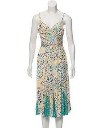 Issa - Printed Silk Dress Beige - Lyst