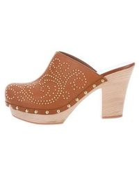 Sergio Rossi - Leather Studded Clogs Brown - Lyst