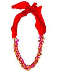 Nina Ricci - Single Strand Ribbon Necklace Gold - Lyst