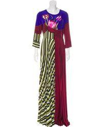 Mary Katrantzou - Carni Pleated Maxi Dress W/ Tags Pattern Prints - Lyst