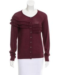 Peter Som - Ruffle-accented Wool Cardigan - Lyst