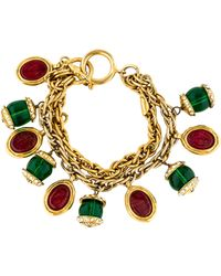 Chanel - Gripoix Glass & Crystal Multistrand Bracelet Gold - Lyst