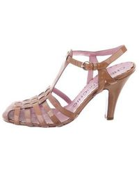 Boutique Moschino - Patent Leather T-strap Heels Tan - Lyst