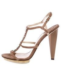 B Brian Atwood - Embellished Suede Sandals - Lyst