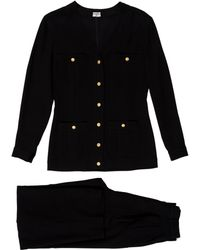 Chanel - Pleated High-rise Pantsuit Black - Lyst