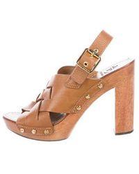0d125b03735 Lyst - Tory Burch Fria Platform Slide Sandals Tan in Natural