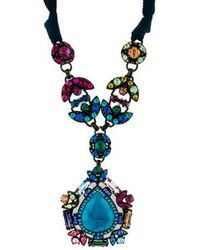 Lanvin - Crystal & Ribbon Pendant Necklace Brass - Lyst