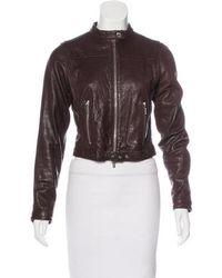 Michael Kors - Leather Biker Jacket - Lyst