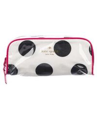 1ec8149923db Kate Spade - Polka Dot Zip Cosmetic Bag Black - Lyst