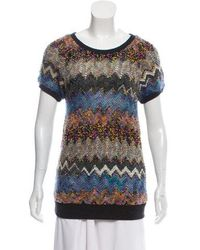 Peter Som - Short Sleeve Knit Sweater Grey - Lyst