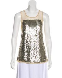 Gryphon - Sequin Sleeveless Top Silver - Lyst