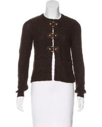 Tory Burch - Leather-accented Wool Cardigan - Lyst