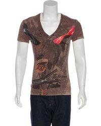 John Galliano - Graphic V-neck T-shirt - Lyst