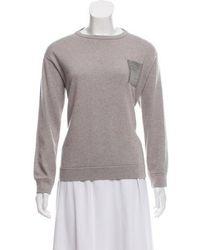 Brunello Cucinelli - Monili-trimmed Cashmere Sweater Grey - Lyst