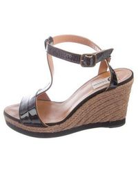 Lanvin - Patent Leather Wedge Sandals - Lyst