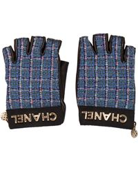 Chanel - 2017 Tweed Fingerless Gloves Navy - Lyst